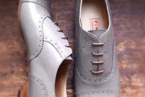 靴 オーダー 紐靴 ライトグレー 神戸 halva-halva