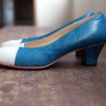 靴 オーダー パンプス ブルー ホワイト 神戸 halva-halva