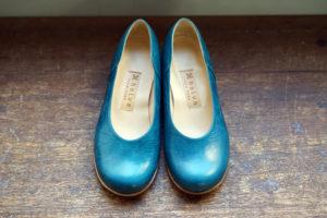 靴 オーダー パンプス ブルー 神戸 halva-halva
