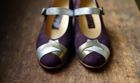 靴 オーダー パンプス パープル 神戸 halva-halva