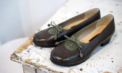 靴 オーダー パンプス ダークブラウン グリーン 神戸 halva-halva
