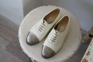 靴 オーダー 紐靴 ホワイト シルバー 神戸 halva-halva