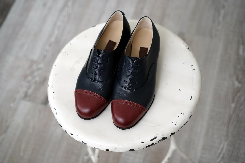 靴 オーダー 紐靴 ネイビー ダークレッド 神戸 halva-halva