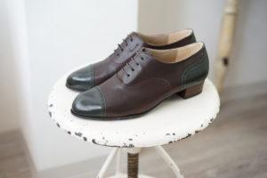 オーダー靴 紐靴 ダークブラウン ダークグリーン