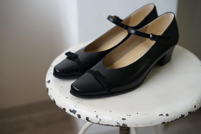 パンプス 黒 リボン ストラップ オーダー靴