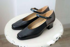 パンプス ストラップ 黒 シルバー ダークグリーン halva-halva オーダー靴